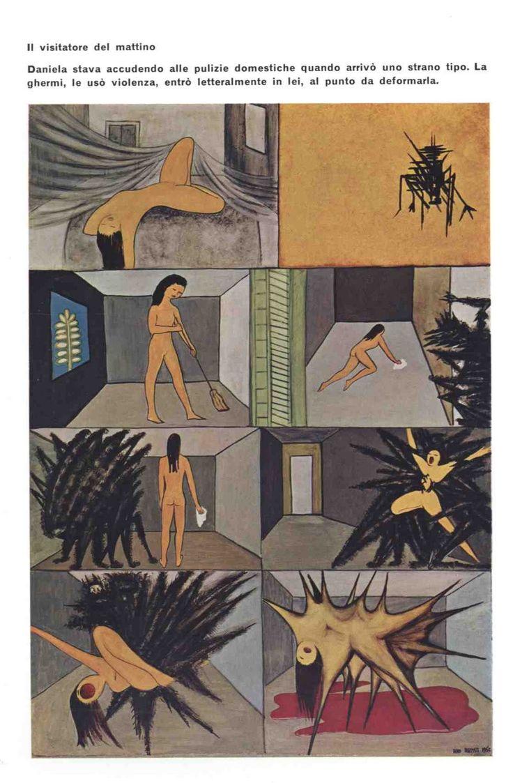 """Il visitatore del mattino, da """"Dino Buzzati Pittore"""", Alfieri, 1967."""