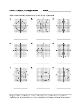 Worksheets Hyperbola Worksheet circles ellipses and hyperbolas conic sections pinterest circles