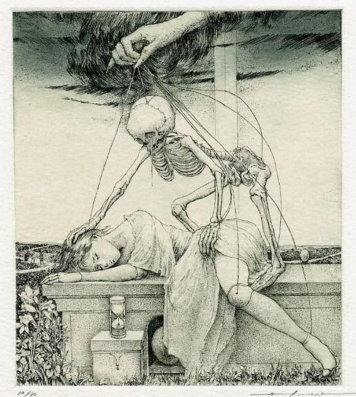 Death grim reaper Father Time scythe maiden girl woman dance danse macabre skull skeleton