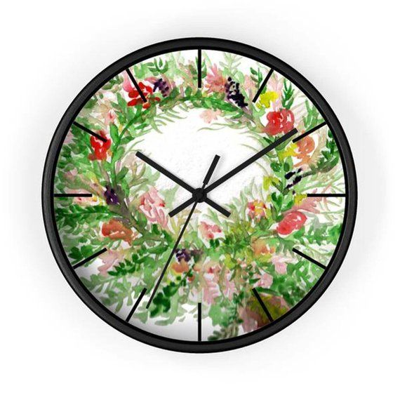 Souta Spring Floral Rose Print Shabby Chic 10 Inch Diameter Etsy Floral Wall Clocks Blush Walls Rose Clock
