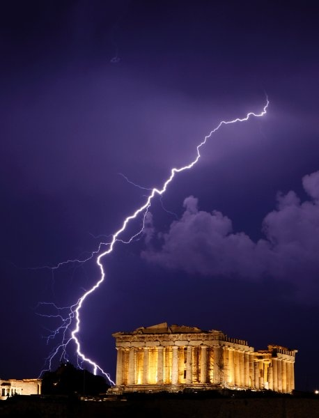 Lighting strikes above the Arcopolis in Athens.