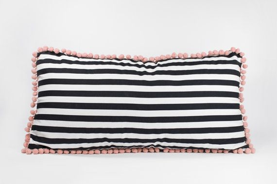 20 by 11 Black stripe pillow with soft pink pom pom by detcraft