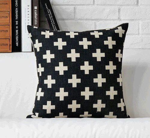 "Hot Nordic cruzes asteca caso jogar travesseiro decorativo preto Indie Boho capa de almofada Car almofada casos início Couch sofá Decor 18 """