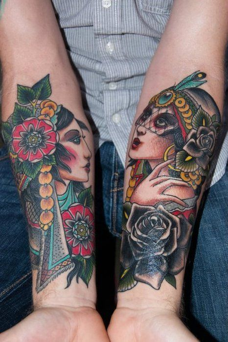 dual gypsies - Aaron Mason Tattoo