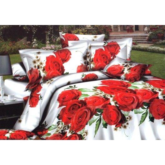 Bílý ložní povlak s červenými růžemi - dumdekorace.cz