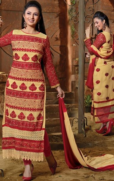 Picture of Admirable Beige and Red Color Salwar Kameez