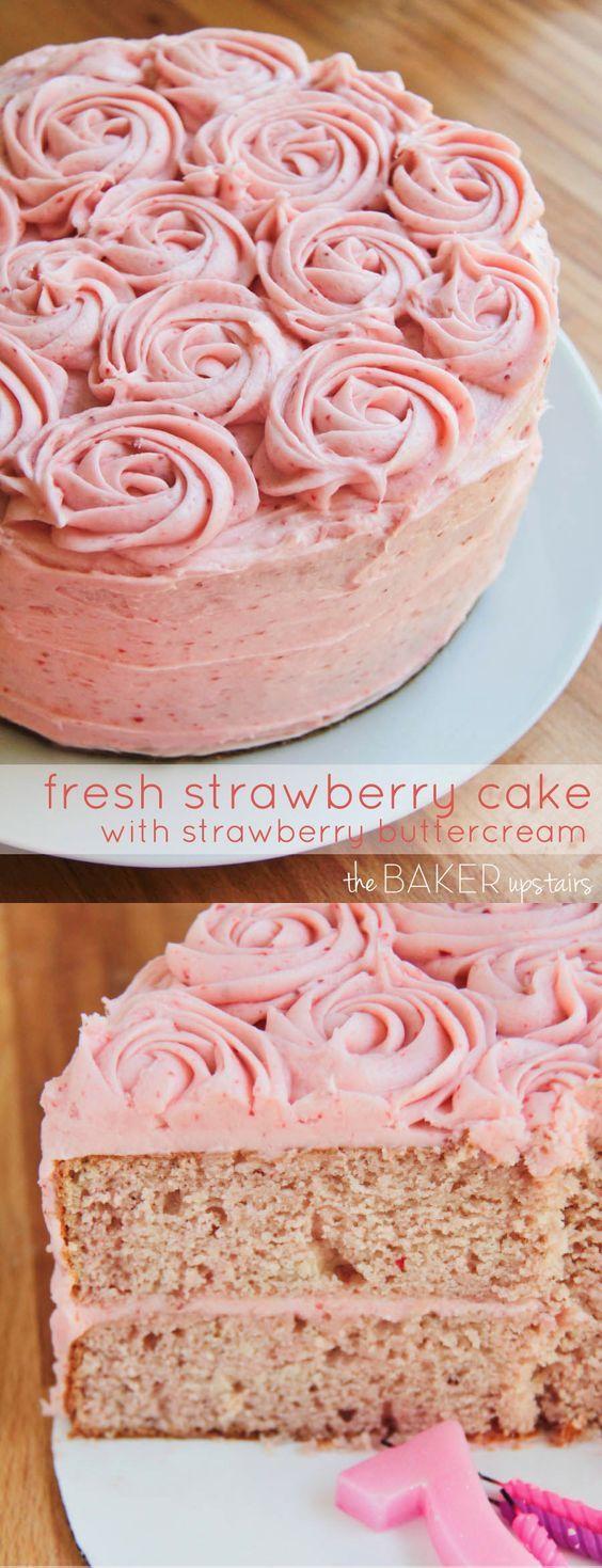 Fresh Strawberry Cake with Strawberry Buttercream Dessert Recipes - #recipes, dessert, food