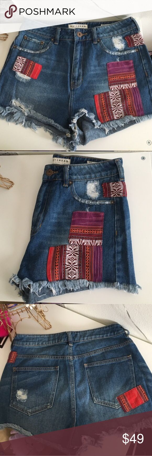 bullhead high waisted patched distressed shorts High waisted shorts with an amazing patched and distressed hem look! Perfect summer and festival wear ! ✈️❤ Only worn 1x. Size 9. ⭐️Bundles 15% off⭐️ please feel free to ask any questions or submit an offer. Bullhead Shorts
