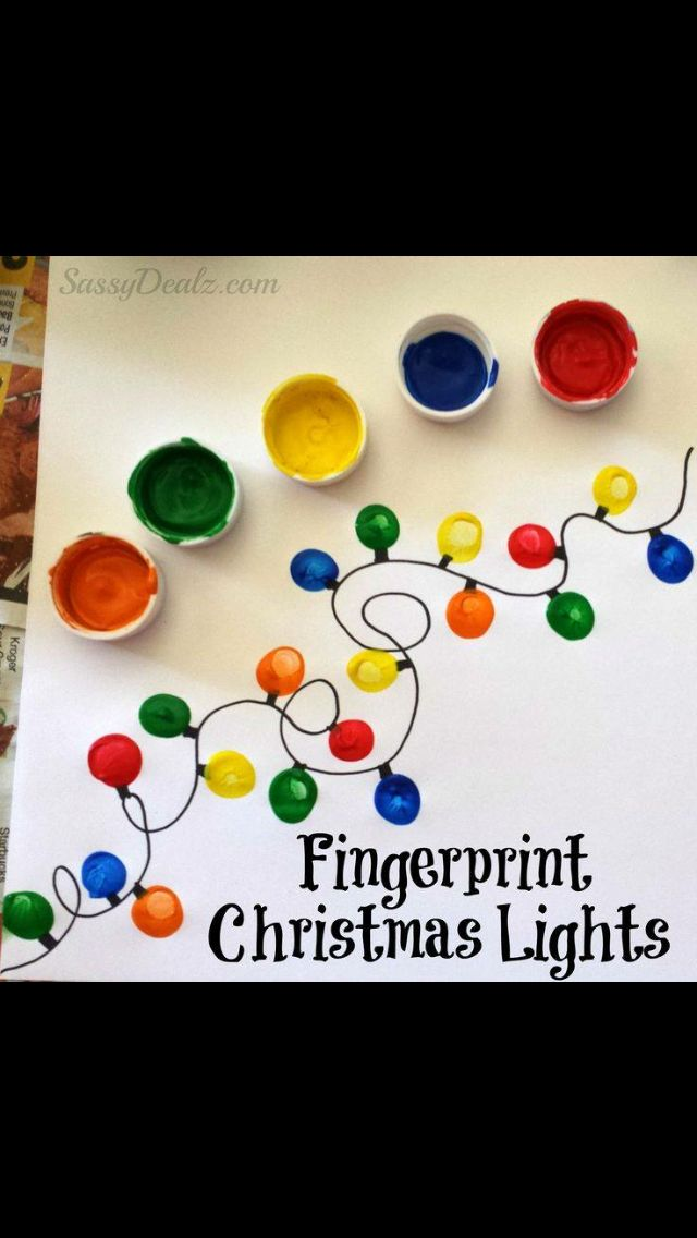 Fingerprint Christmas Light Craft For Kids DIY Card Idea