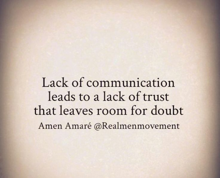 Lack of communication!