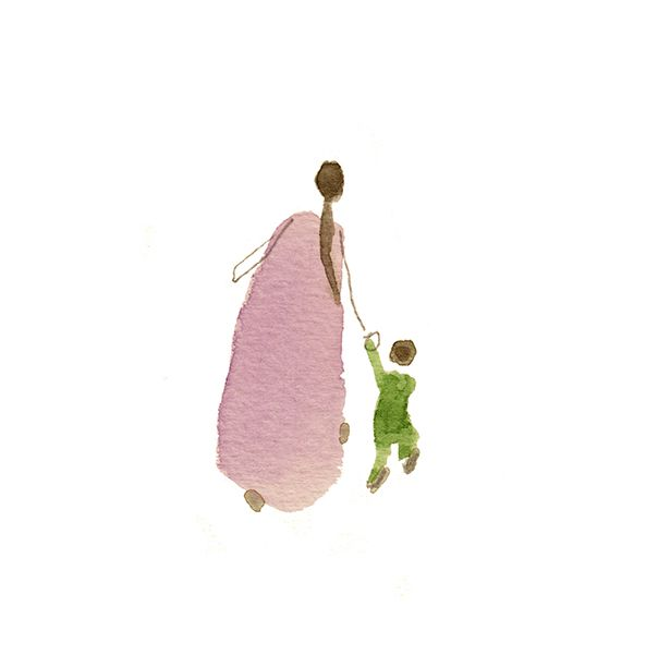 mother and son watercolour art -Vicky Alvarez Illustration