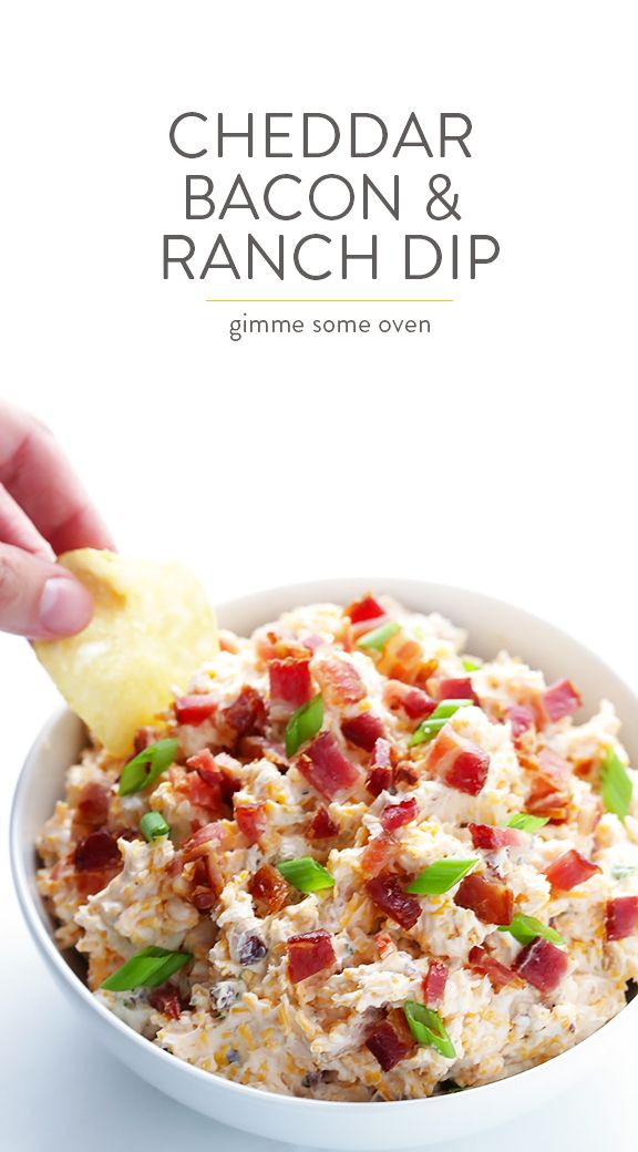 5-Minute Cheddar Bacon Ranch Dip - Easy to make with just 6 simple ingredients, and SO good!