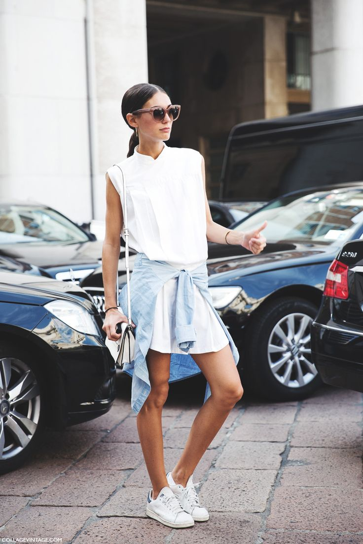shirt dress envy. #DilettaBonaiuti & her Stan Smiths in Milan.