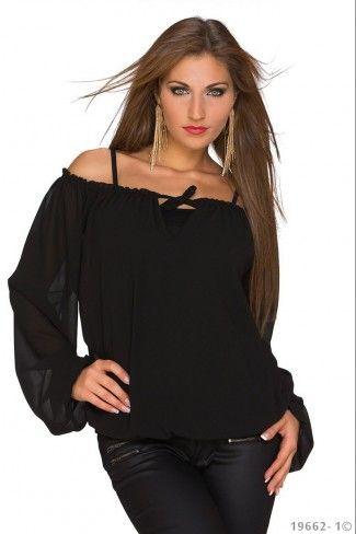 Σιφόν μπλούζα με φαρδιά μανίκια - Μαύρο