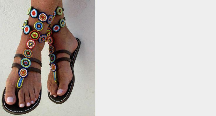 african bead sandals | bhfshoppingmall: African Beaded Sandals Rainbow