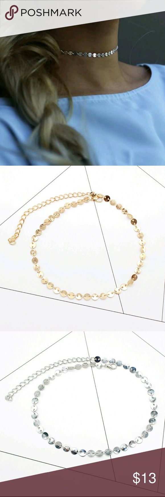 Sequin Discovery Choker Beautiful sequin disc chocked in yellow gold and silver. 1 yellow gold 1 silver  Price is firm unless bundled. Street Style Jewelry Necklaces
