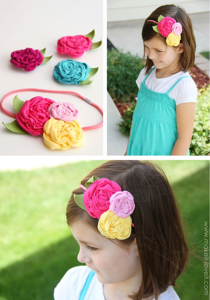 Shirred Fabric Flowers {made from knit fabric scraps}  I have 2 great nieces that need these. I'd better get to work!