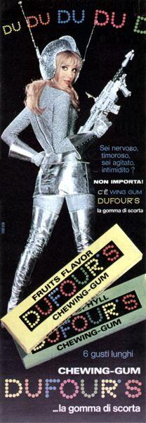 dufour chewing gum adverstisment. Retro Space Age Ad.