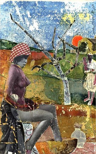 The Calabash, by Romare Bearden, 1970 - Collage of gouache, paper, and fabric. Location:  Library of Congress, Washington, D.C.