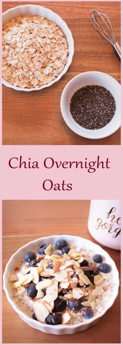 Blueberry Almond Chia Overnight Oats | Raw Vegan | Vegetarian | Oatmeal | Breakfast | Post Workout Snack