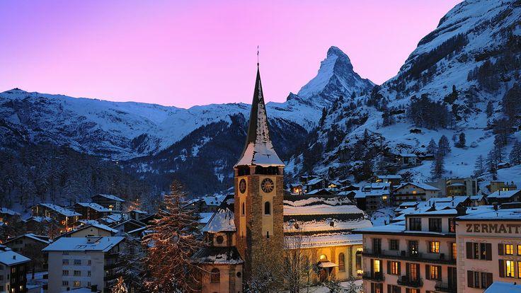 Podvečerní pohled na Zermatt.