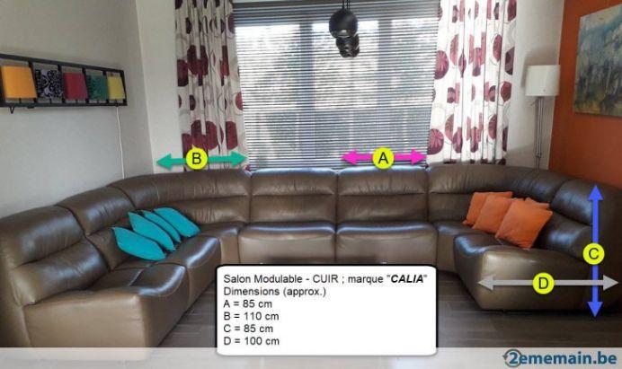 Grand Salon 100 Cuir Modulable Marque Calia A Vendre 2ememain Be Inside Salon Modulable