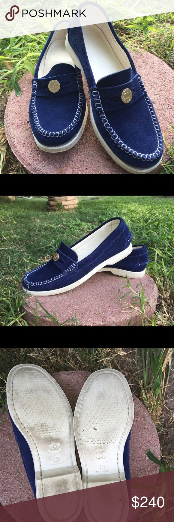 Chanel Blue Suede Loafers Chanel Blue Suede Loafers, in used condition as shown in picture. Still beautiful color to them!!! CHANEL Shoes Flats & Loafers
