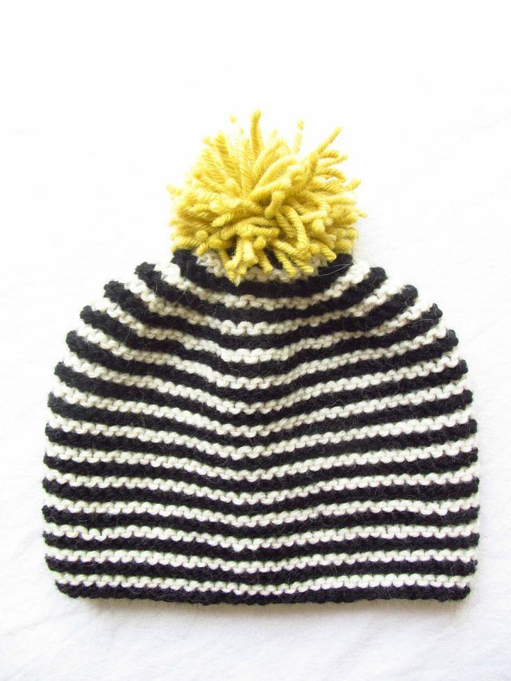 bonnet en laine tricoté, à rayures, pompom jaune