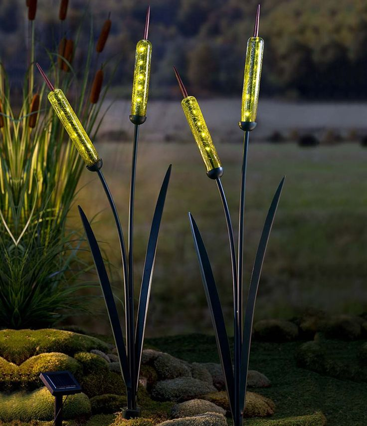 Porch Light Without Electricity: Solar Cattail Garden Stake