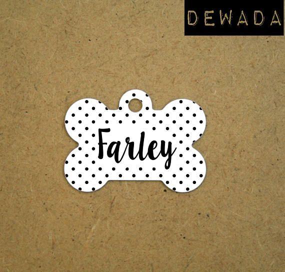 Dog ID Tag customized  white black polka dots