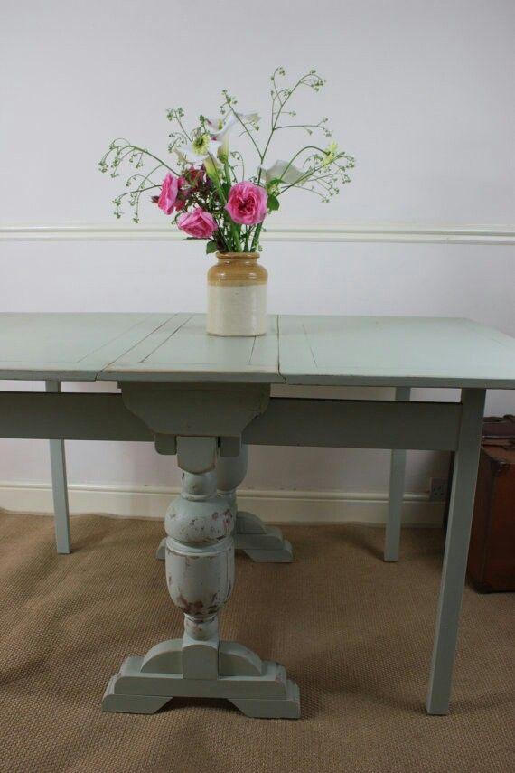 Lovely Vintage Oak Drop Leaf Table, Hand Painted in Farrow & Ball Vert de Terre