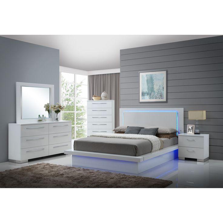 High Gloss White Laminate King Beds