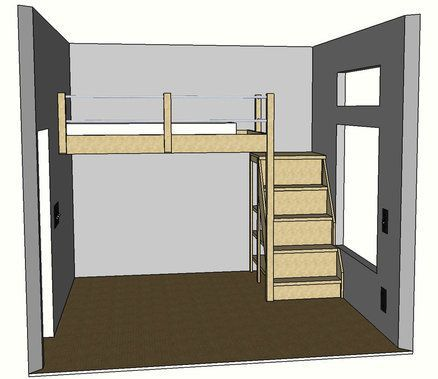 Full Sized Loft Bed (put storage in steps)