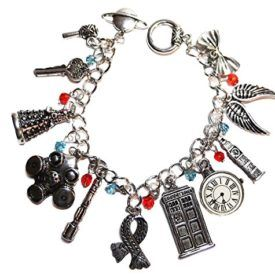 Brand New DOCTOR WHO SILVERTONE CHARM BRACELET Doctor Who Silvertone Charm Bracelet w/ 11 Charms Bracelet is 8″ Long and fastens with a toggle clasp Product Features Doctor Who Silvertone (11 Charms) Charm BRACELET Doctor Who Silvertone Charm Bracelet w/ 11 Charms Bracelet is 8″ Long and fastens with a toggle clasp
