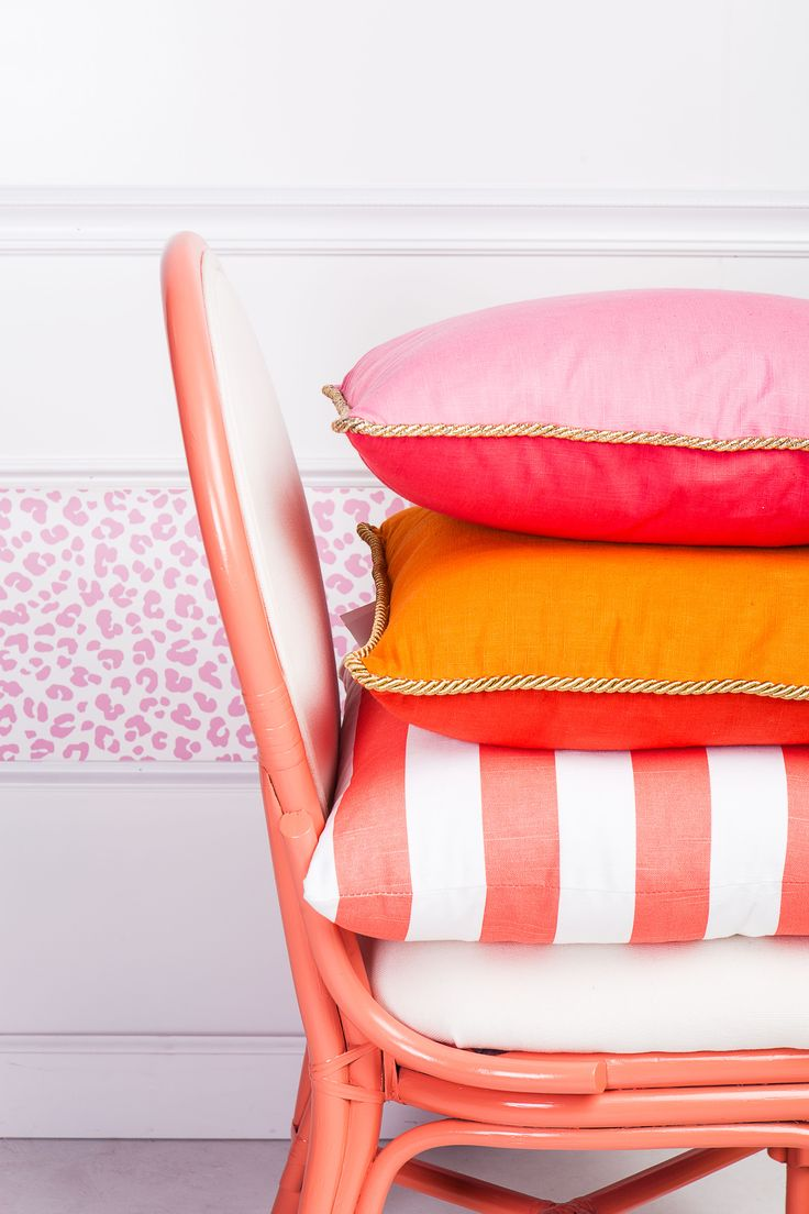 Colorblock Linen Pillow Watermelon & Petal, Colorblock Linen Pillow Persimmon & Koi Coral, Slub and White Stripe Pillow, Ocelot Pink Wallpaper, The Matisse Chair in Coral -Society Social