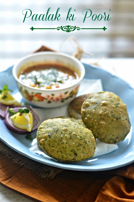 Spinach fried bread:- Want to make the sinful Poori a bit healthier ? Add Spinach to it, and gobble an extra one up happily :)
