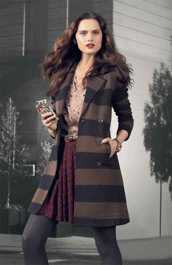 Splendid 'London' Stripe Jacket, 'Mod Dot' Short-sleeve Top, & Willow and Clay Lace Skirt #Nordstrom #AugustCatalog