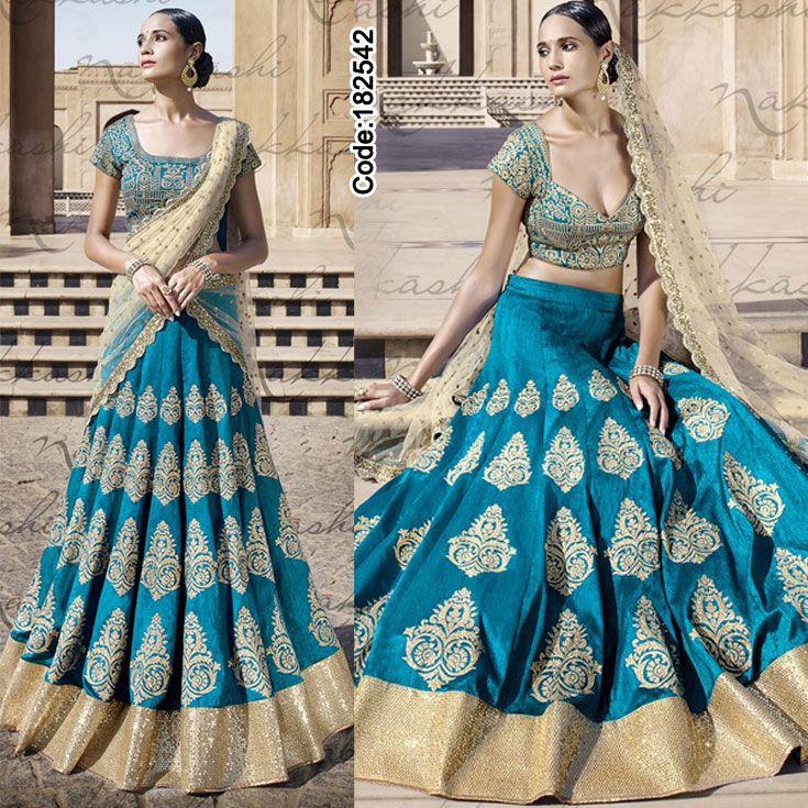 Turn some heads with this sparkling #blue #lehenga!!  #FloralMotif #Volume #Layers #Embroidery #Designer #Occasion #IndianDresses #Partywears #Indian #Women #Bridalwear #Fashion #Fashionista #OnlineShopping #Lehengacholi