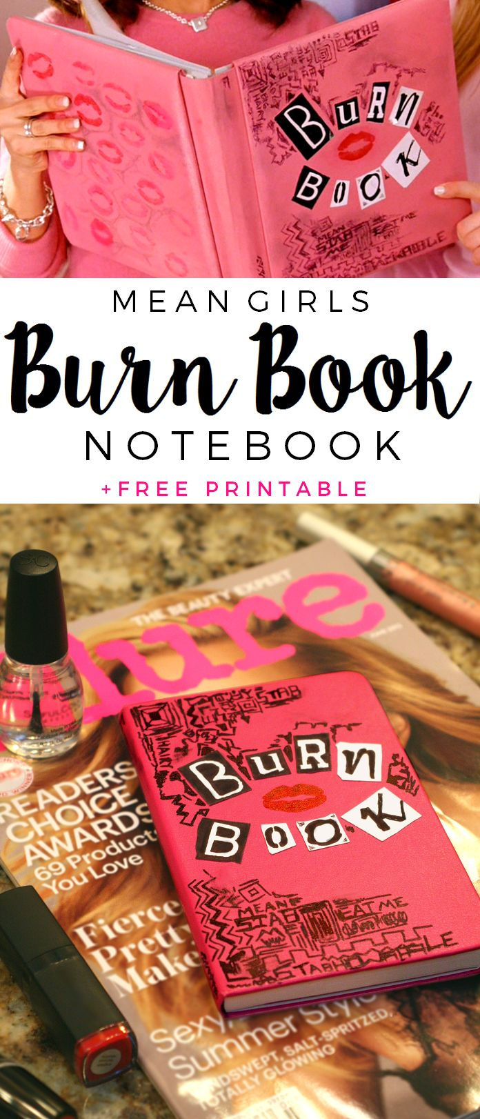 DIY Mean Girls Burn Book Notebook/Planner + free printable for the letters | The Glitter in My Tea for Dawn Nicole Designs