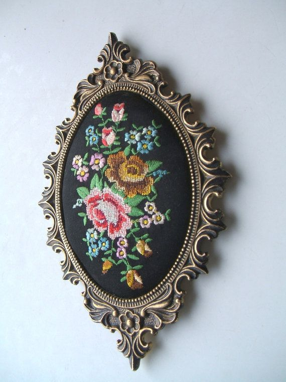 Lovely Vintage Petit Point Floral Needlepoint by TheHilltopShop
