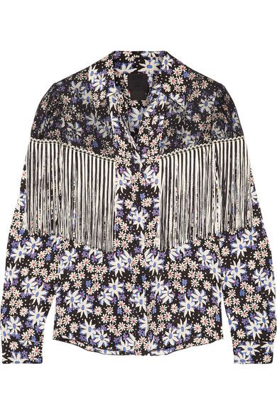 Anna Sui - Oops A Daisy Fringed Lace-paneled Printed Silk-blend Jacquard Blouse - Black - US10