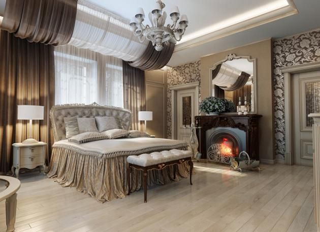 Fireplace Floral Accent Wall Luxury master Bedroom. Love the curtains!!