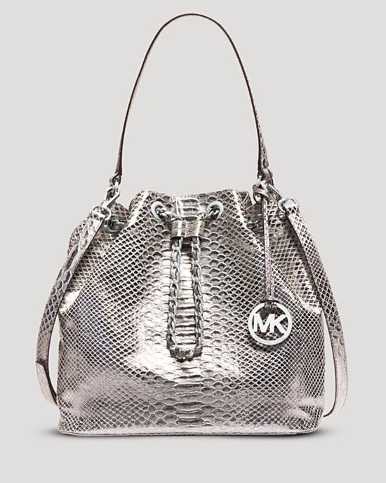 Michael Kors Frankie Silver Leather Drawstring Bucket Purse Bag New Purses And Bags Handbags