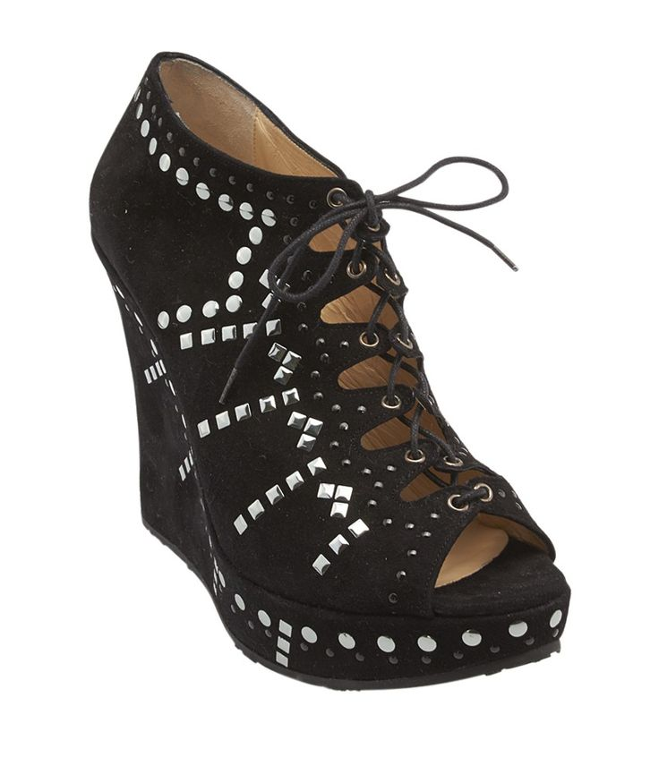 These Jimmy Choo wedge heels feature a peep toe, a lace up closure, and  allover silver-tone stud embellishment.
