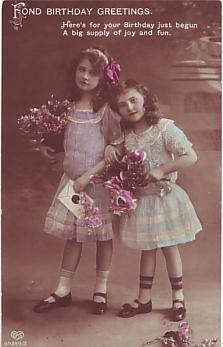 E A Schwerdtfeger Postcard - Fond Birthday Greetings  c1913