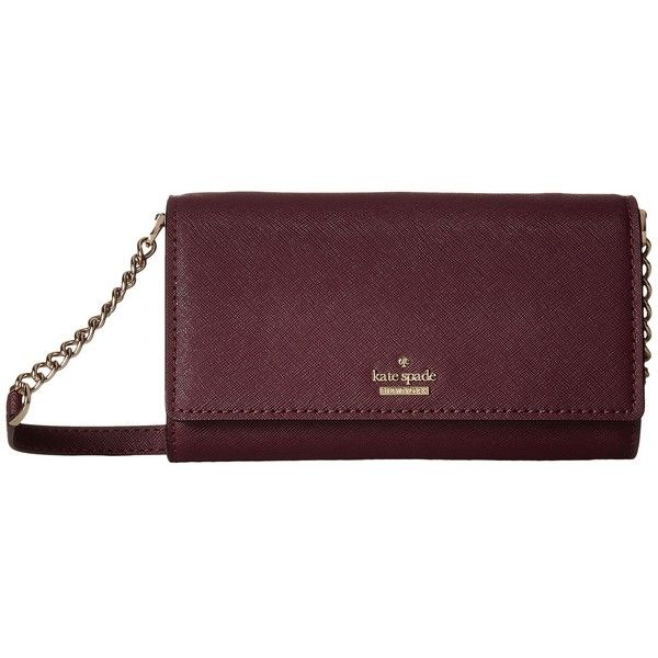 Kate Spade New York Cameron Street Corin (Deep Plum) Wallet ($178) ❤ liked on Polyvore featuring bags, kate spade, mini crossbody, purple leather bag, leather bags and crossbody bags
