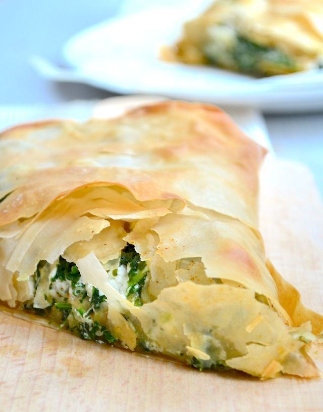 Spanakopita, a greek traditional pie with spinach and feta cheese