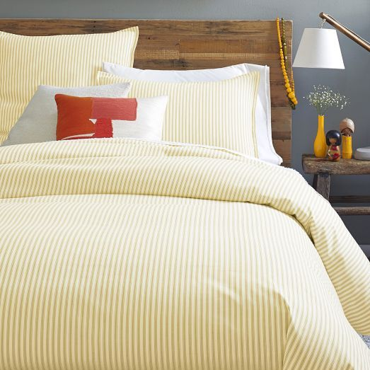 Inspired by simpler times, our Ticking Stripe Duvet Cover + Shams feature woven, yarn-dyed stripes on the front and solid coloring on the back.