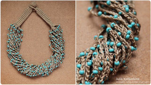 Bluecrocheted necklace