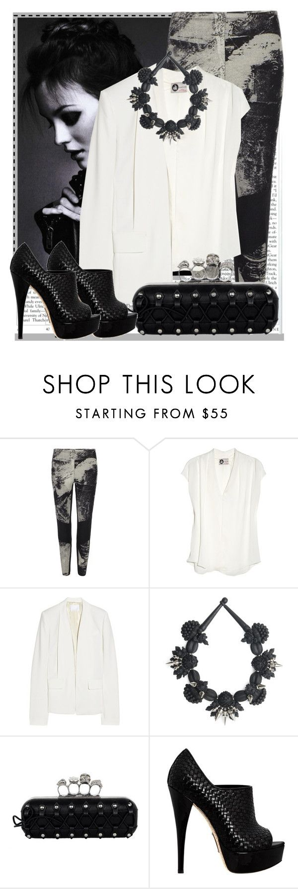 """""""Trend Alert : Black & White"""" by princesskary ❤ liked on Polyvore featuring AllSaints, Lanvin, Alexander Wang, Alexander McQueen and Alejandro Ingelmo"""